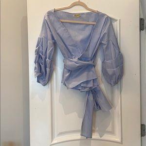 Blue pinstriped wrap blouse